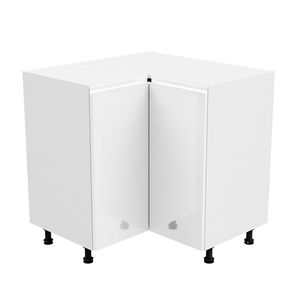 Spodná rohová skrinka, biela/biela extra vysoký lesk, AURORA D90N