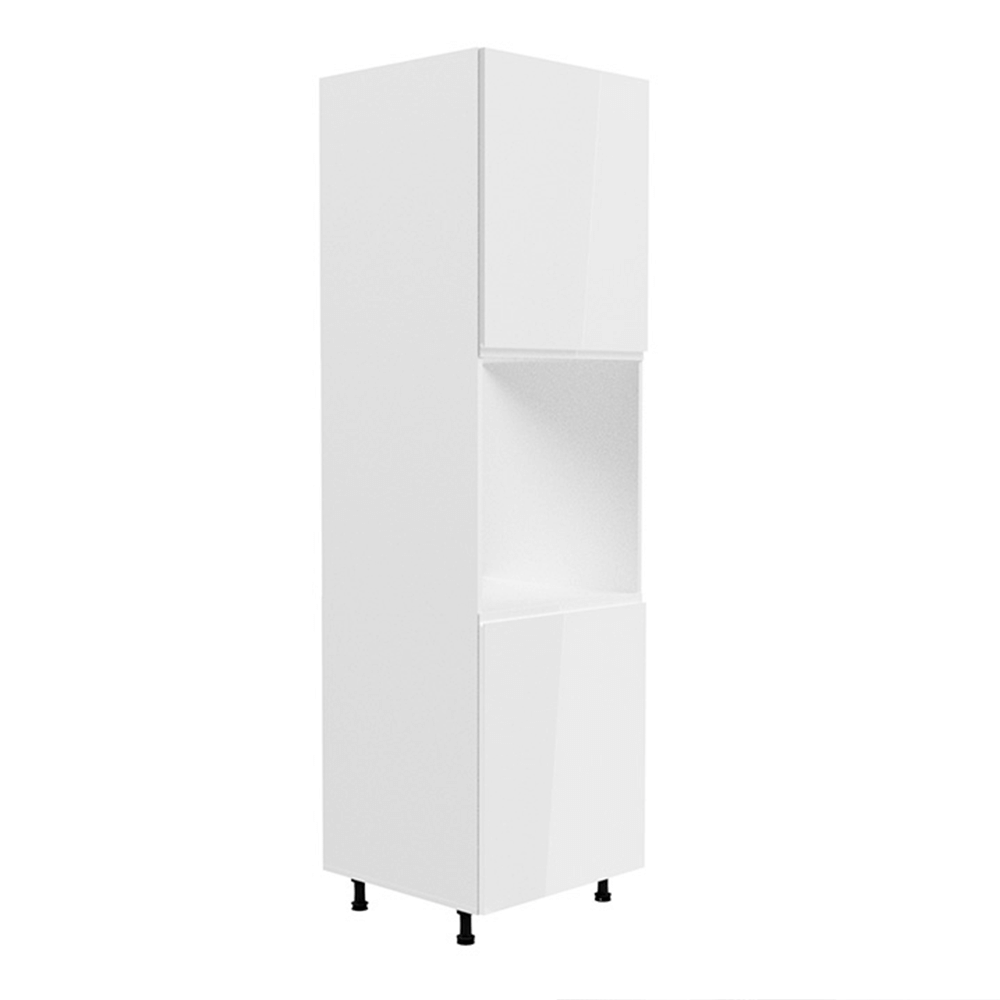 Potravinová skříňka, bílá / bílá extra vysoký lesk, AURORA D60P