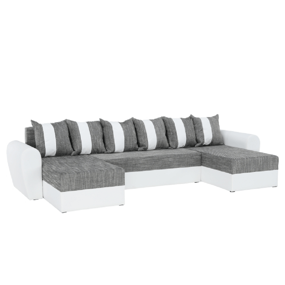 U alakú ülőgarnitúra, fehér/szürké, TIGER U