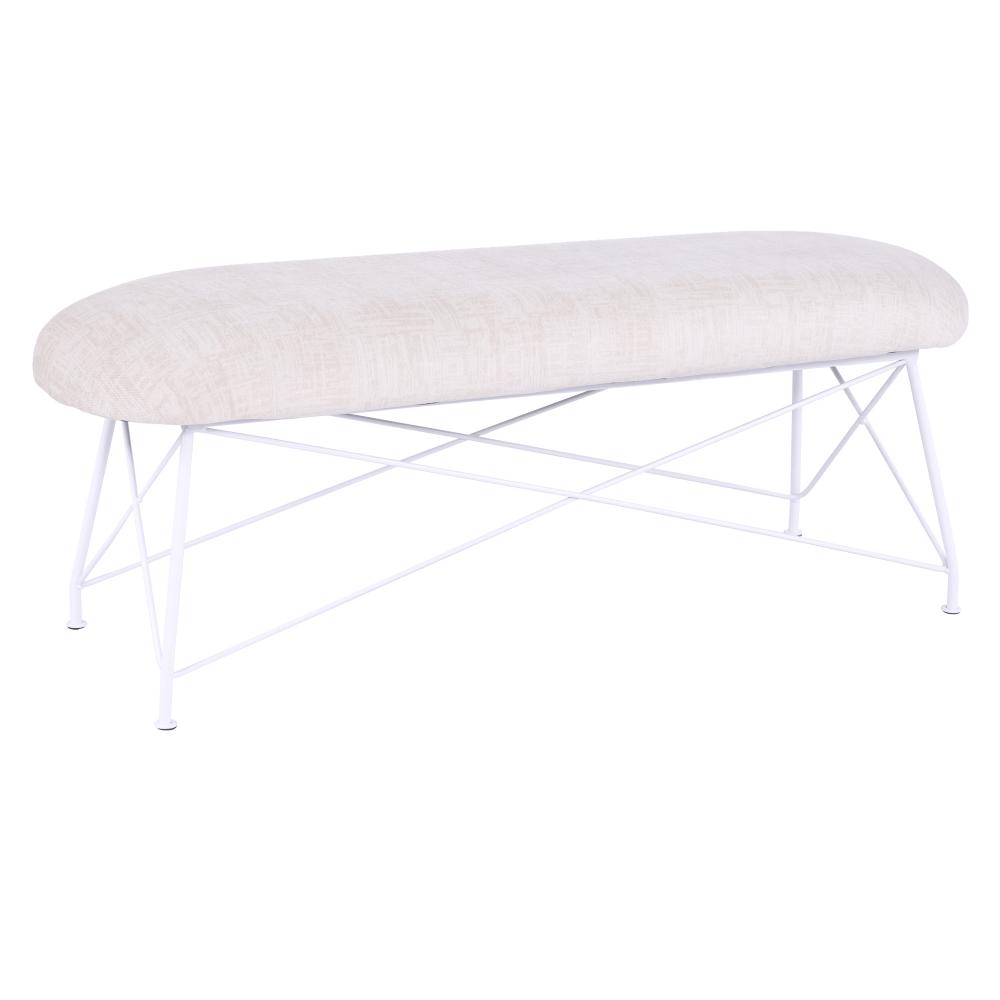 Dizajnová lavica, béžová látka/biely kov, RIVOLA