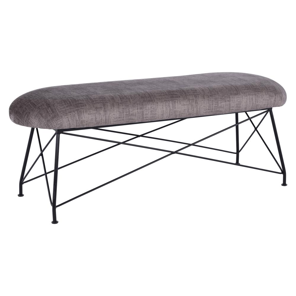 Dizajnová lavica, hnedá látka/čierny kov, RIVOLA