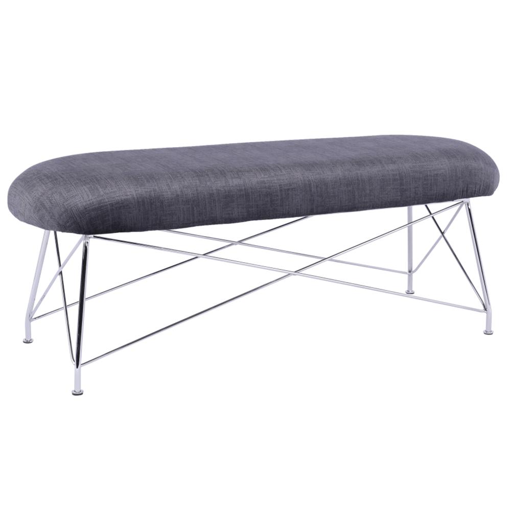 Dizajnová lavica, sivá látka/chróm, RIVOLA