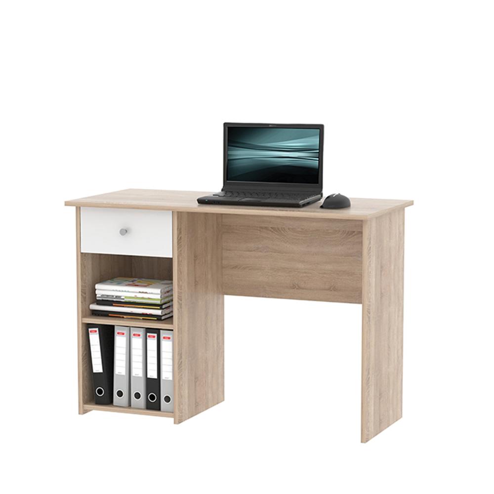 PC stůl, dub sonoma / bílá, KARLIS