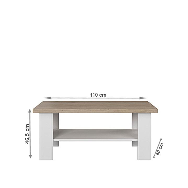 Dohányzóasztal, fehér/tölgy köves, VERLA 110