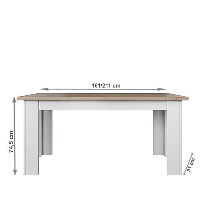 Étkezőasztal, fehér/tölgy köves, VERLA 160/210