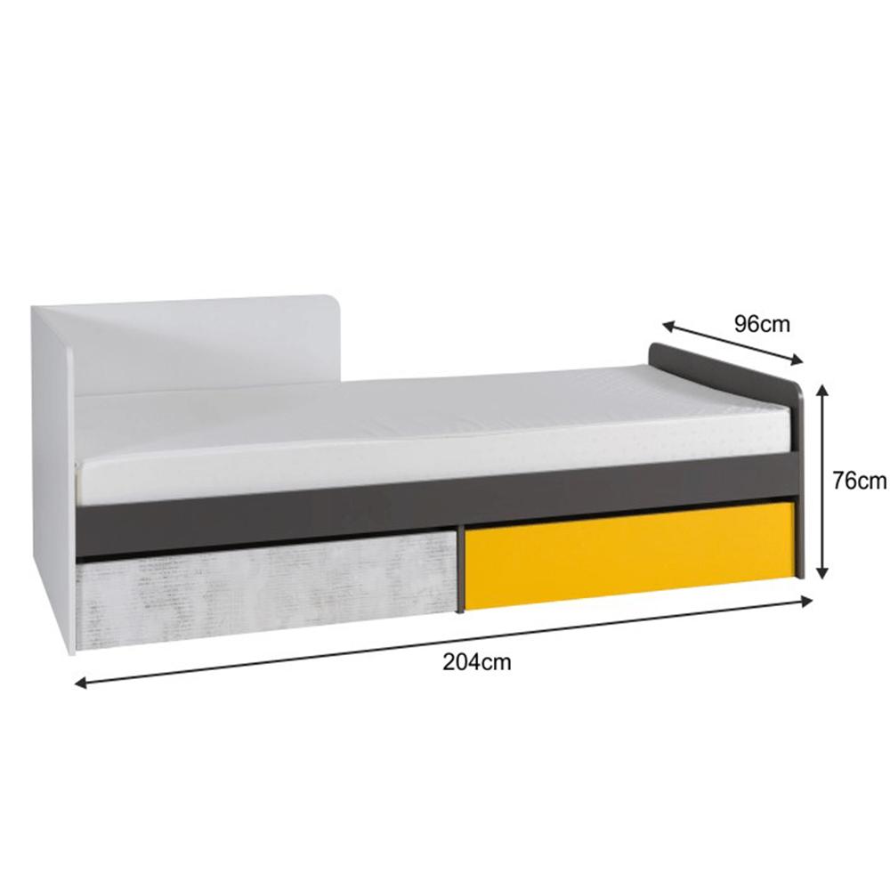 Postel s úložným prostorem B7, bílá/šedý grafit/enigma/žlutá, MATEL