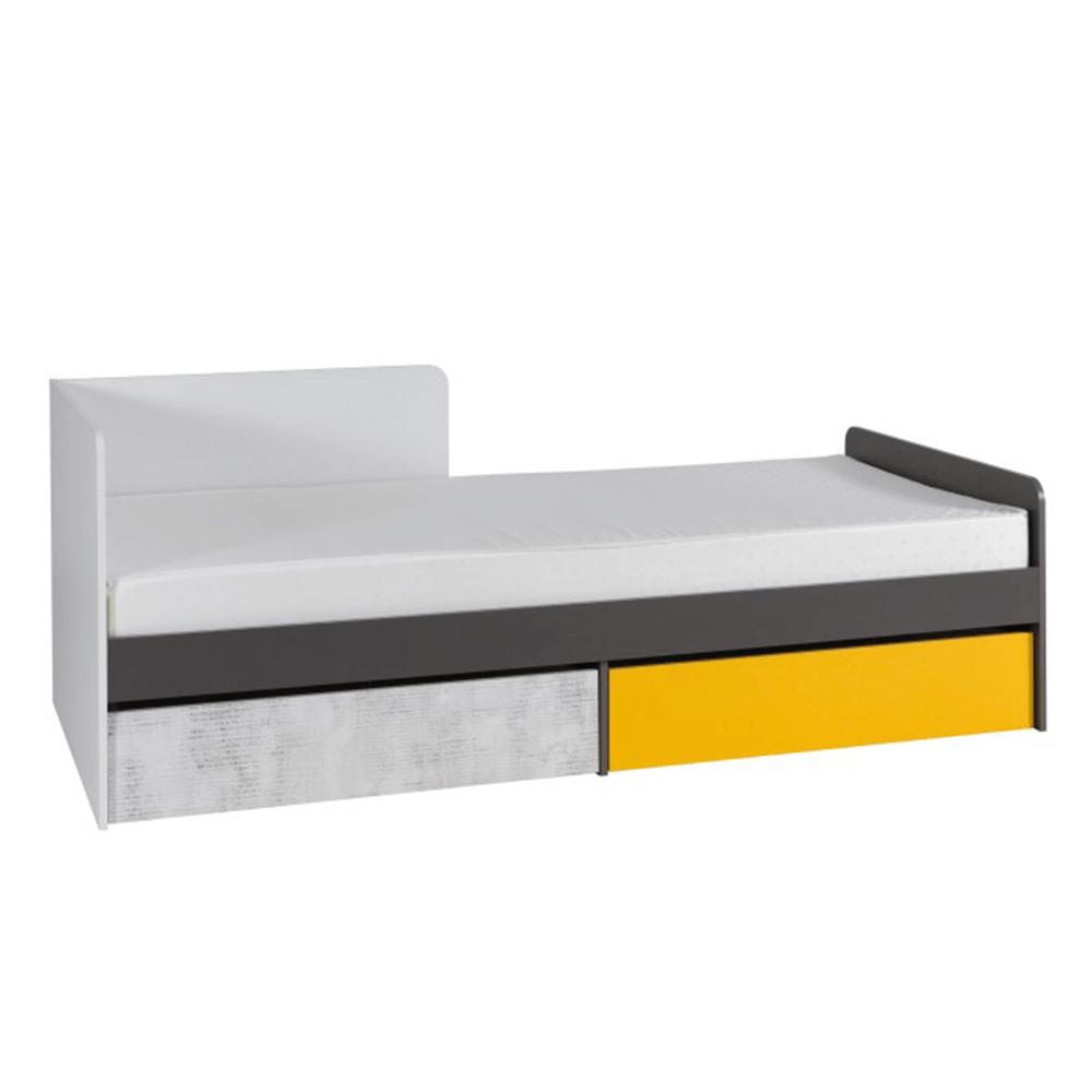 Posteľ s úložným priestorom B7, biela/sivý grafit/enigma/žltá, MATEL