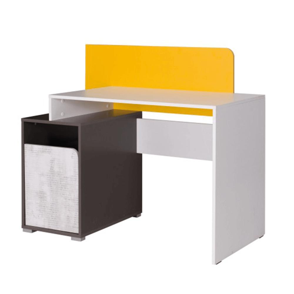 PC stůl B8, bílá/šedý grafit/enigma/žlutá, MATEL
