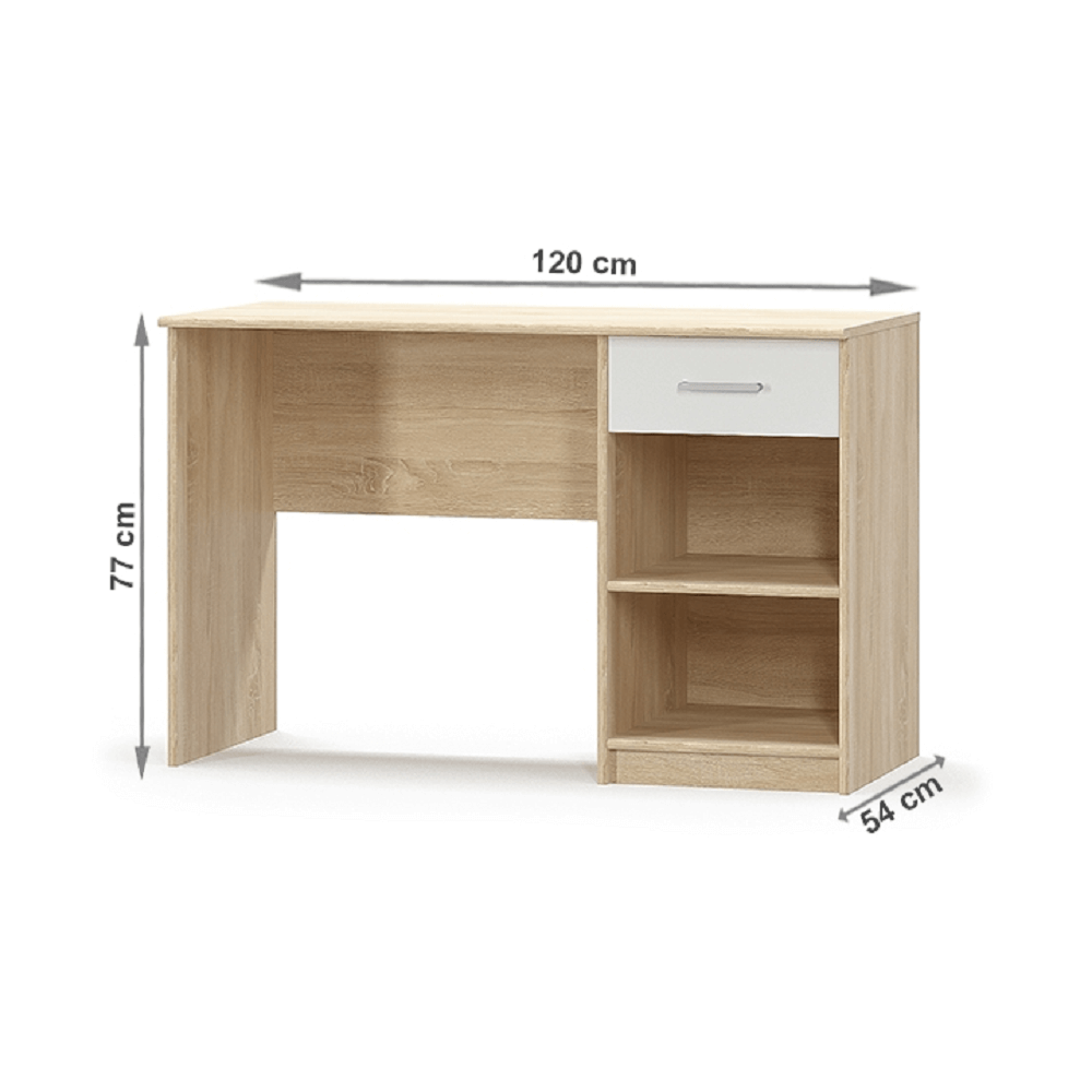 PC stůl 1S, bílá/dub sonoma, TEYO