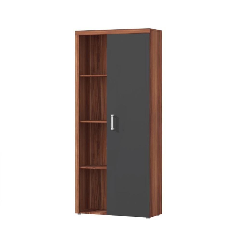 Polcos szekrény könyvespolccal, szilva/szürke grafit, CHERIS 2