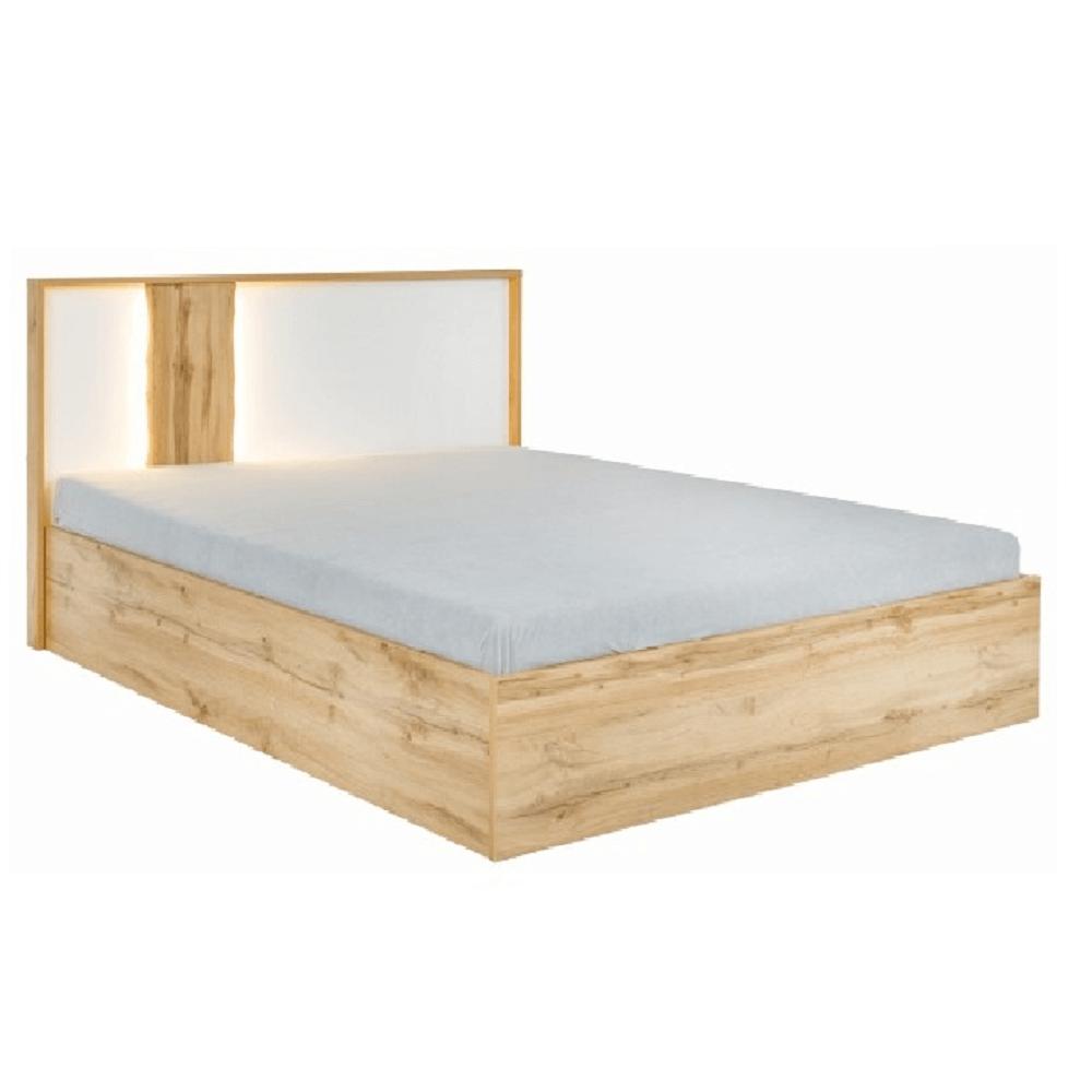 Postel s úložným prostorem, dub wotan/bílá, 160x200, VODENA