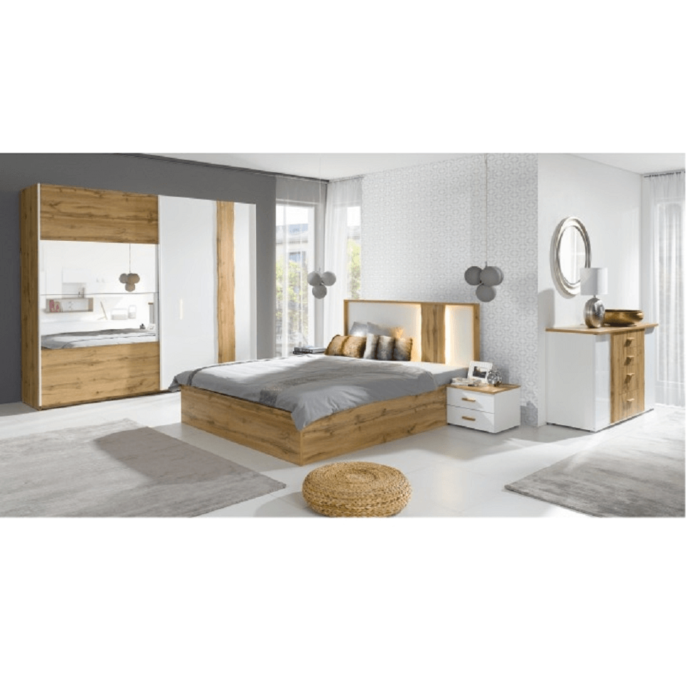 Nočný stolík (2ks), dub wotan/biela, VODENA