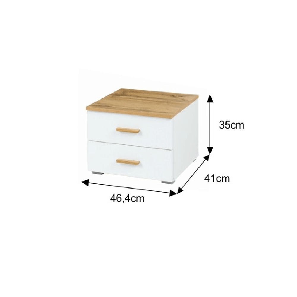 Spálňový kompet, dub wotan/biela, VODENA