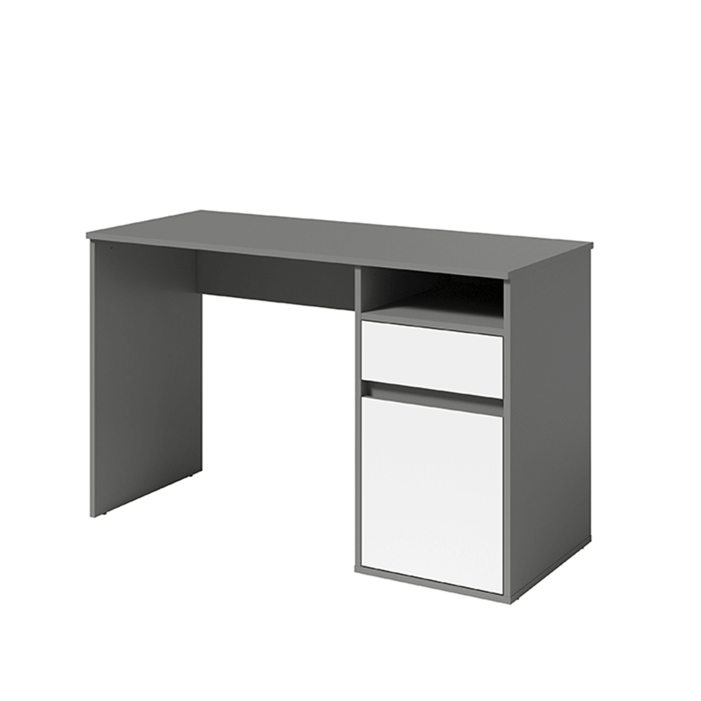 BILI - PC stůl, tmavě šedá-grafit/bílá, TEMPO KONDELAI