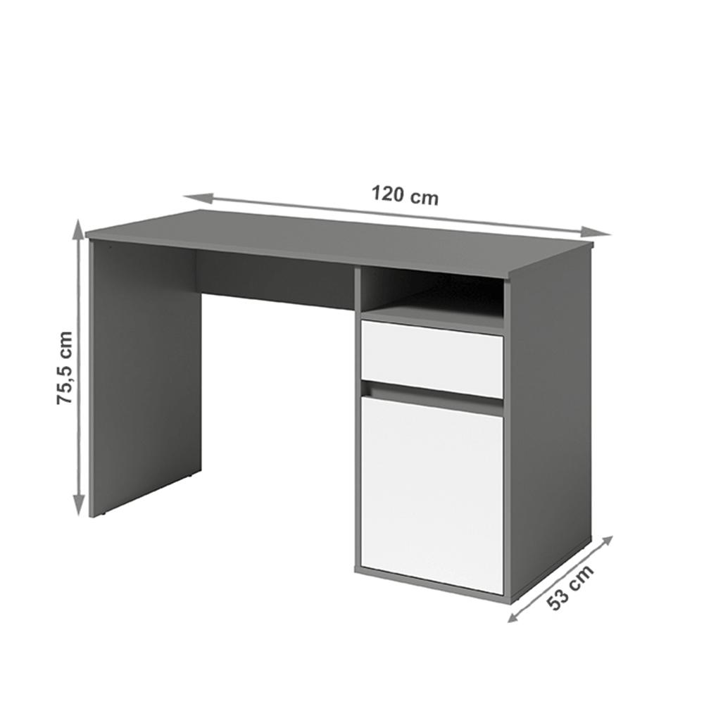 PC stôl, tmavosivá-grafit/biela, BILI