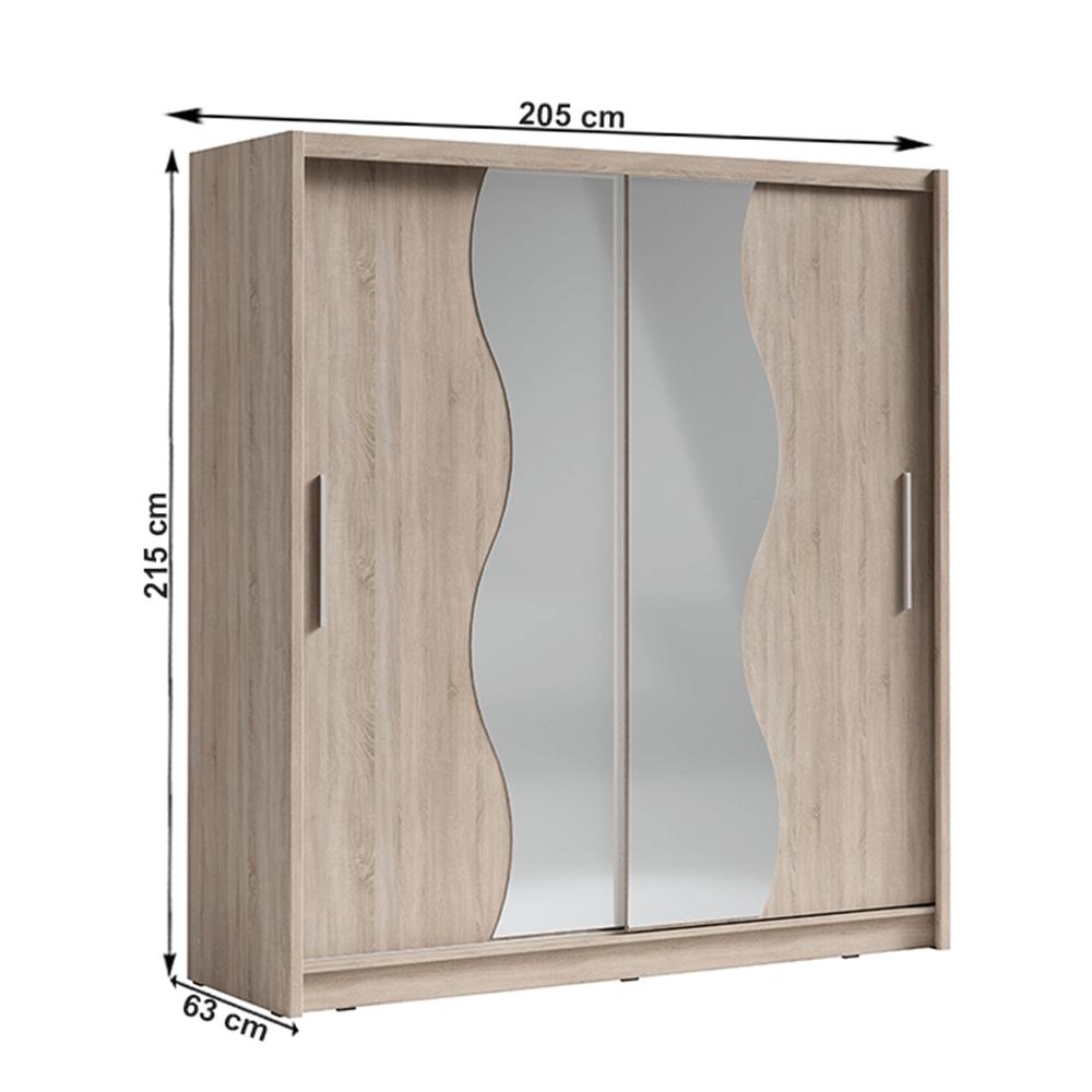Skriňa s posúvacími dverami, dub sonoma, BIRGAMO TYP 1