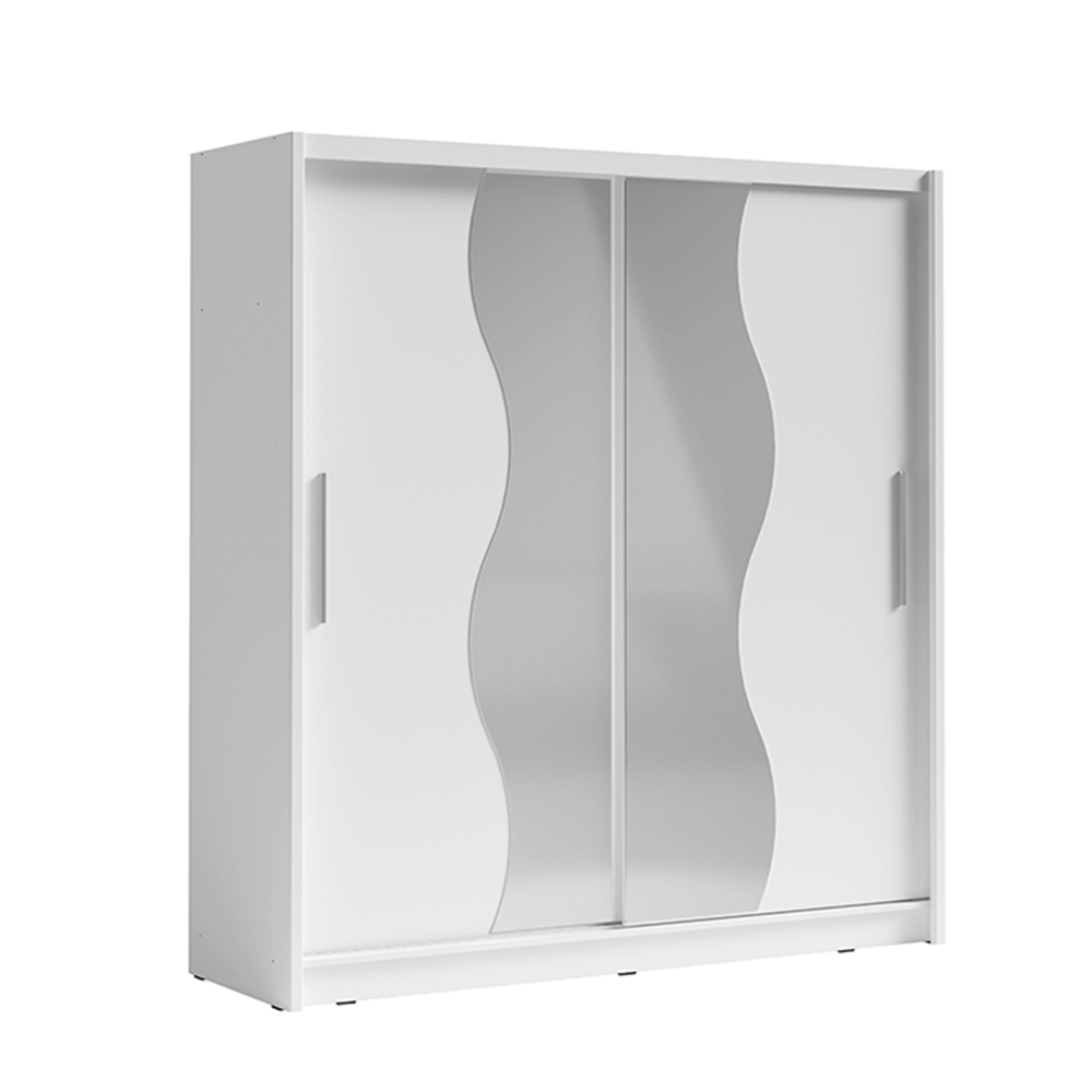 Skříň s posuvnými dveřmi, bílá, BIRGAMO TYP 1
