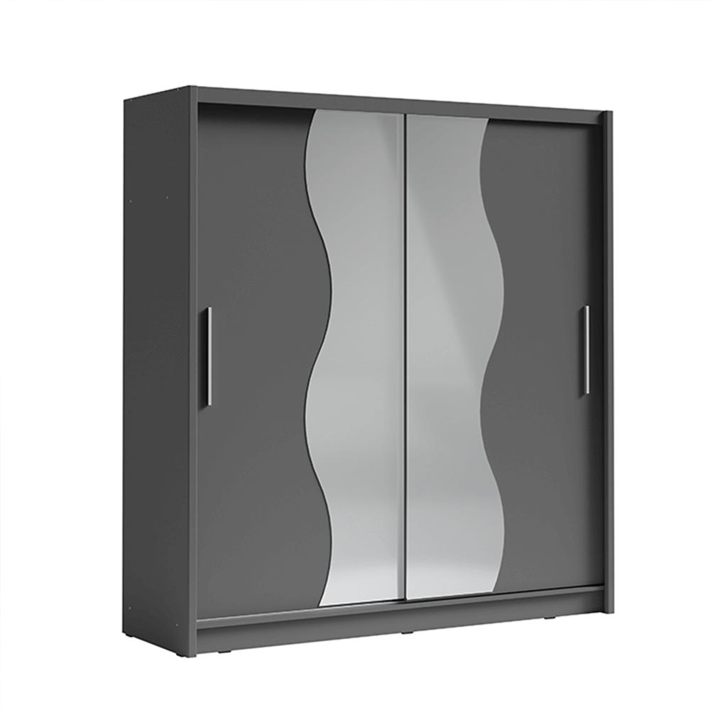 Skriňa s posúvacími dverami, tmavosivá grafit, BIRGAMO TYP 1, TEMPO KONDELA