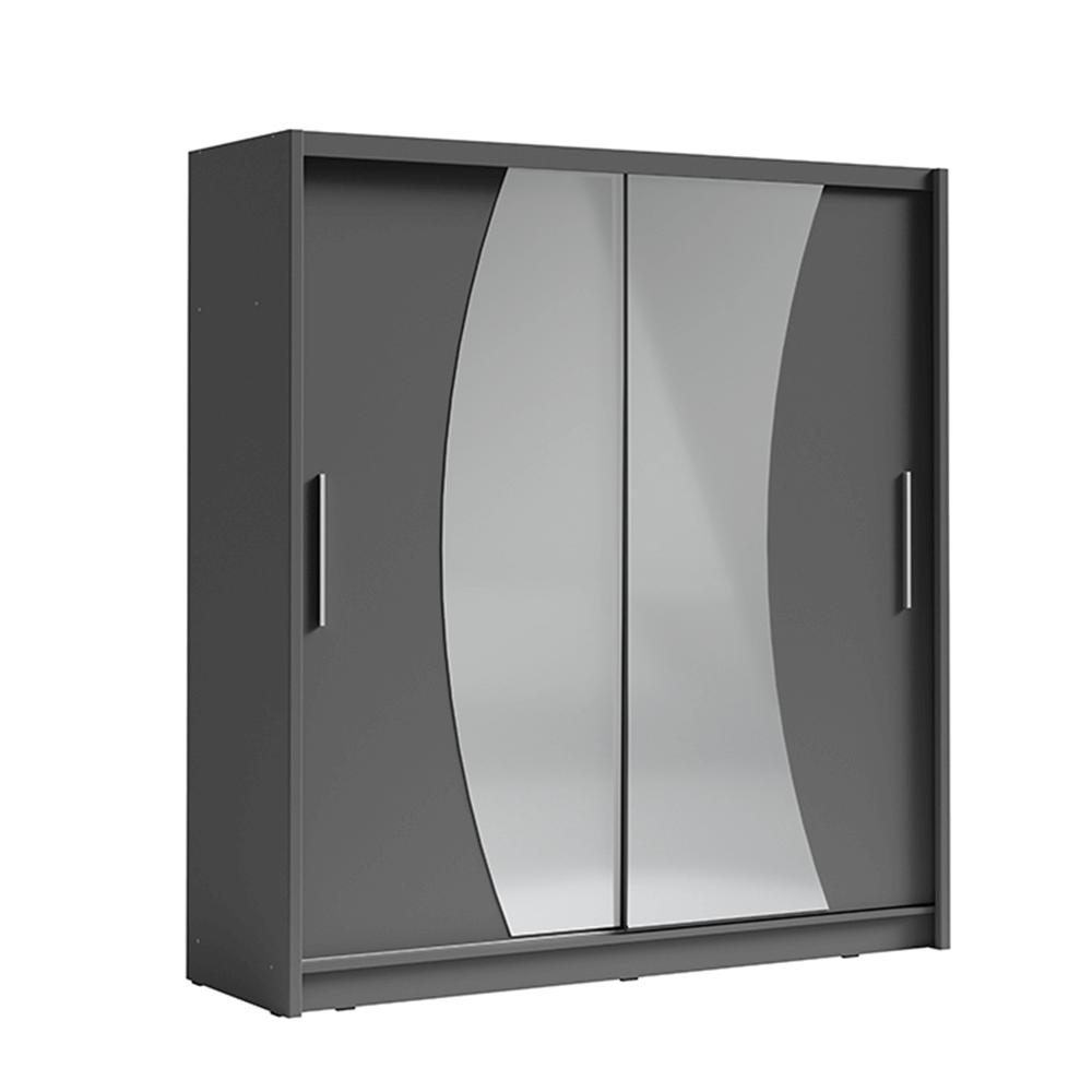 Skříň s posuvnými dveřmi, tmavě šedá grafit, BIRGAMO TYP 2