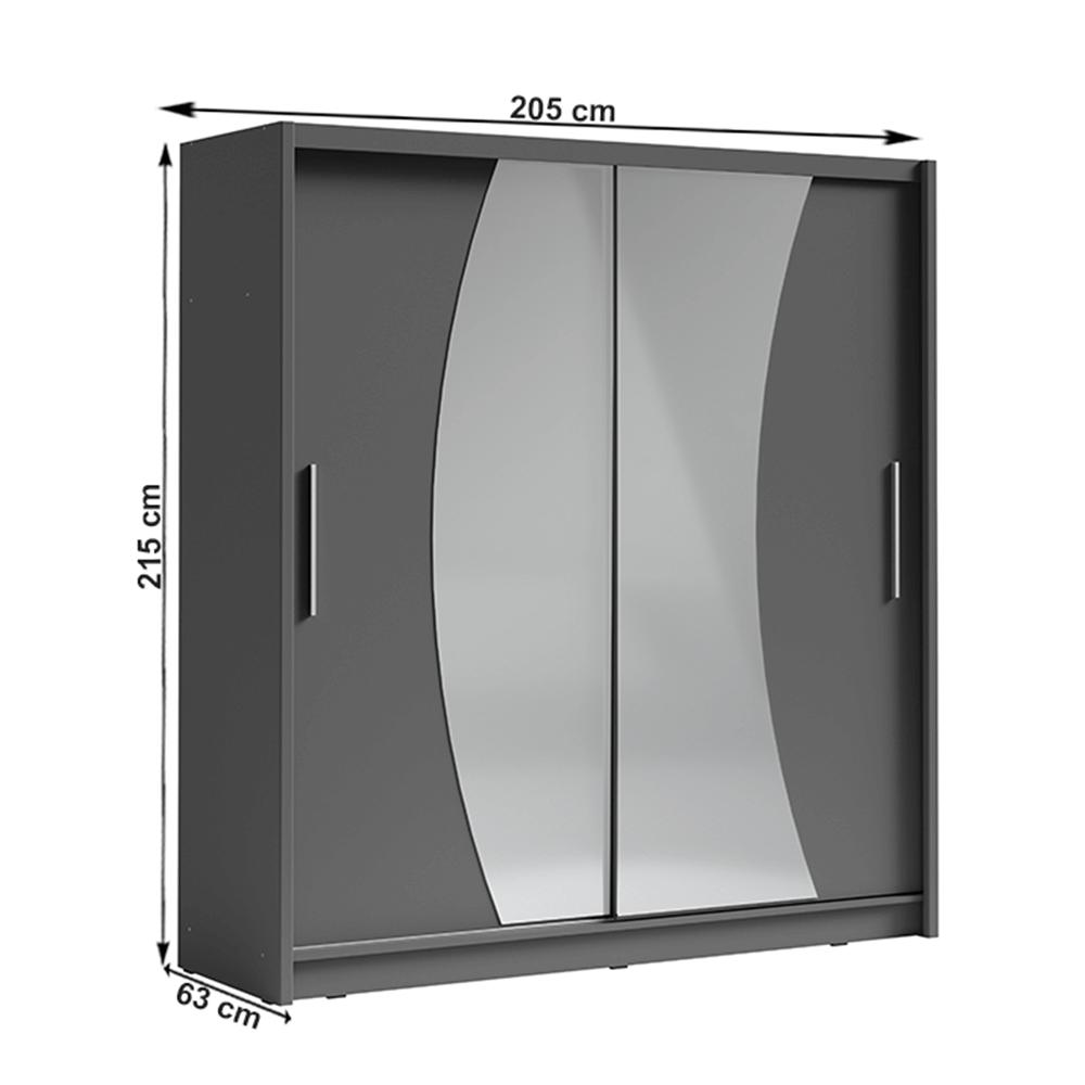 Skriňa s posúvacími dverami, tmavosivá grafit, BIRGAMO TYP 2