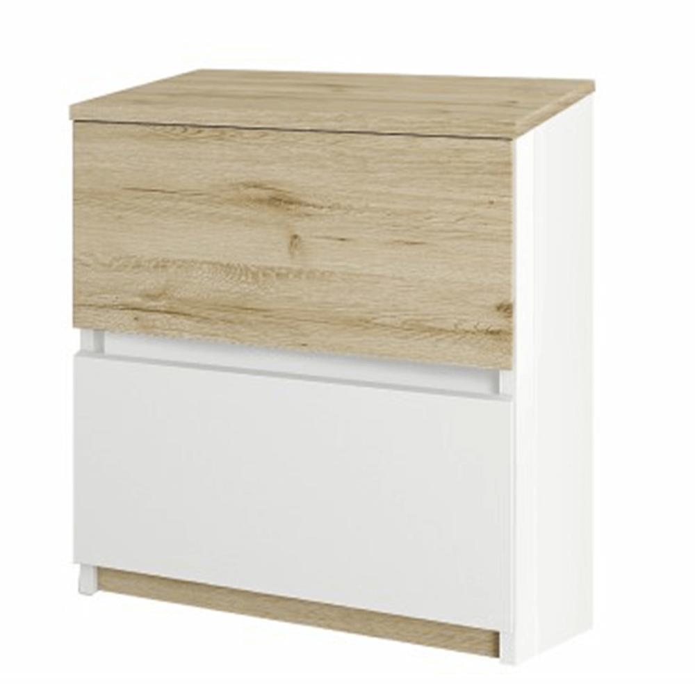 Noční stolek, dub wellington / bílá, LEIRA 2S