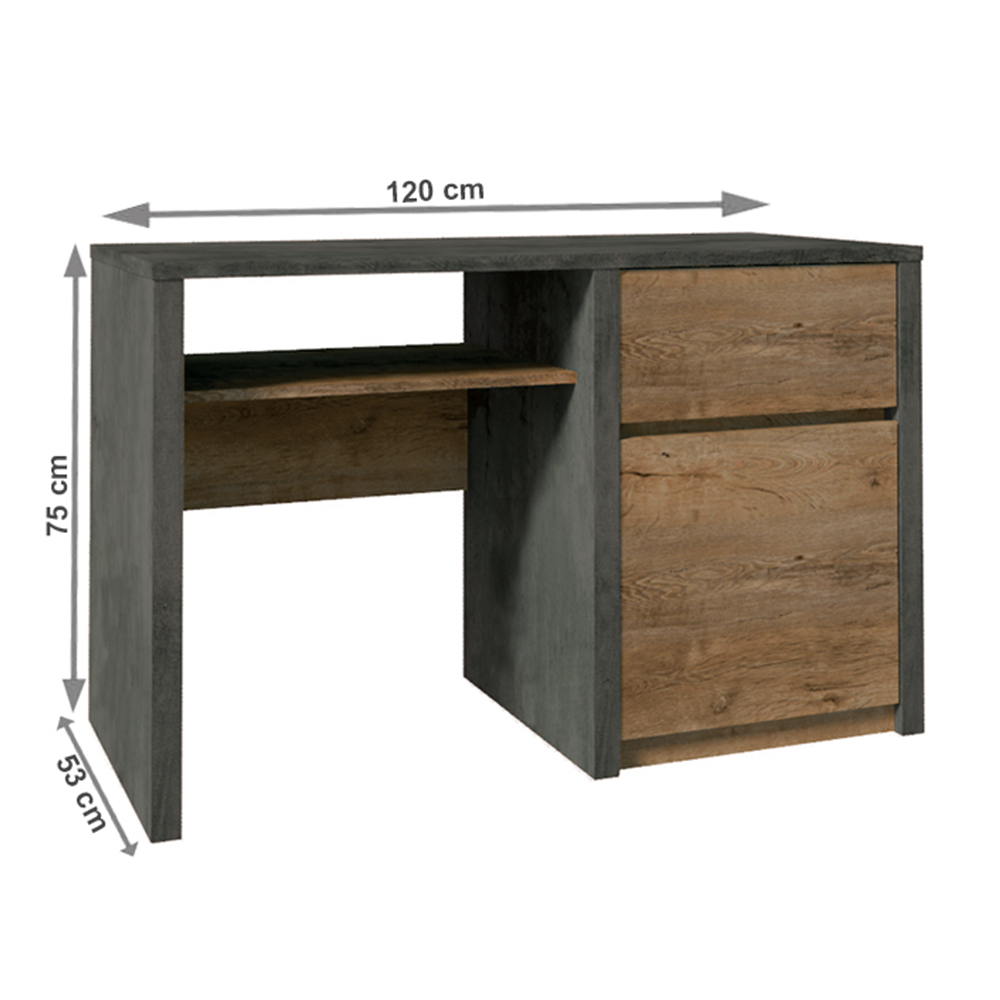 PC stolík, dub lefkas tmavý/smooth sivý, MONTANA B1