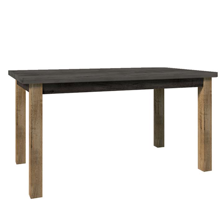 Jedálenský stôl, rozkladací, dub lefkas tmavý/smooth sivý, MONTANA STW