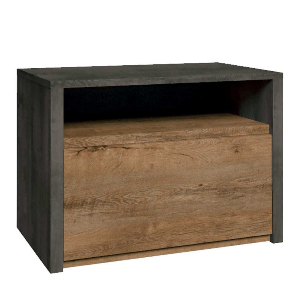 Nočný stolík, dub lefkas tmavý/smooth sivý, MONTANA SN