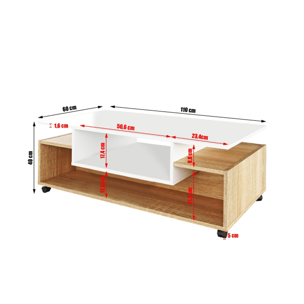 Konferenčný stolík na kolieskach, biela/dub sonoma, DALEN