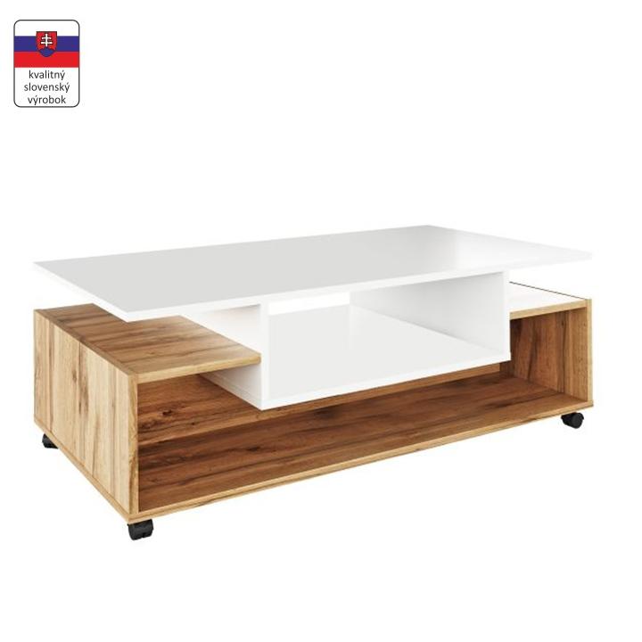 Konferenčný stolík na kolieskach, biela/dub wotan, DALEN