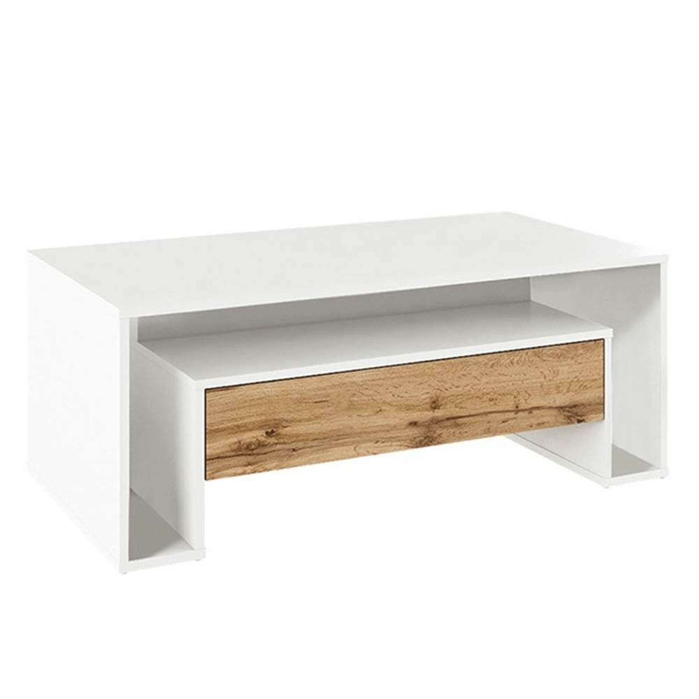 Konferenčný stolík, biela/dub wotan, DAWSON