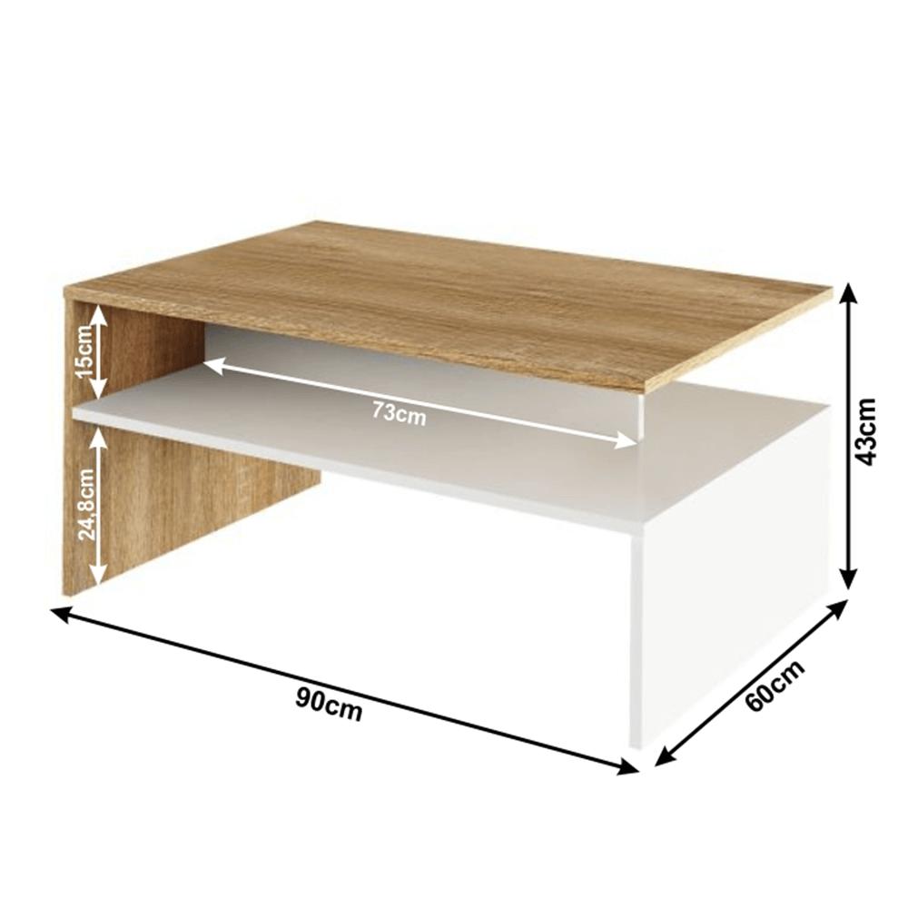 Konferenčný stolík, dub sonoma/biely, DAMOLI