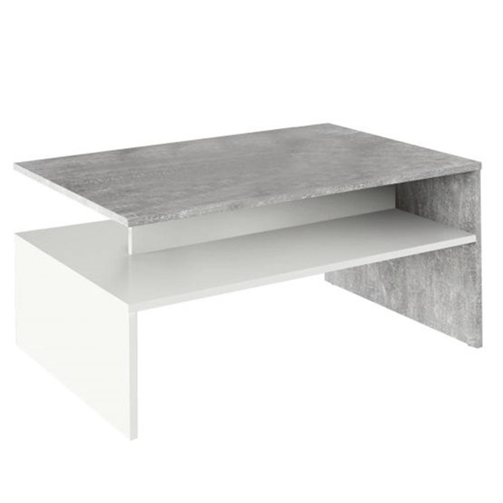 Konferenčný stolík, betón/biela, DAMOLI