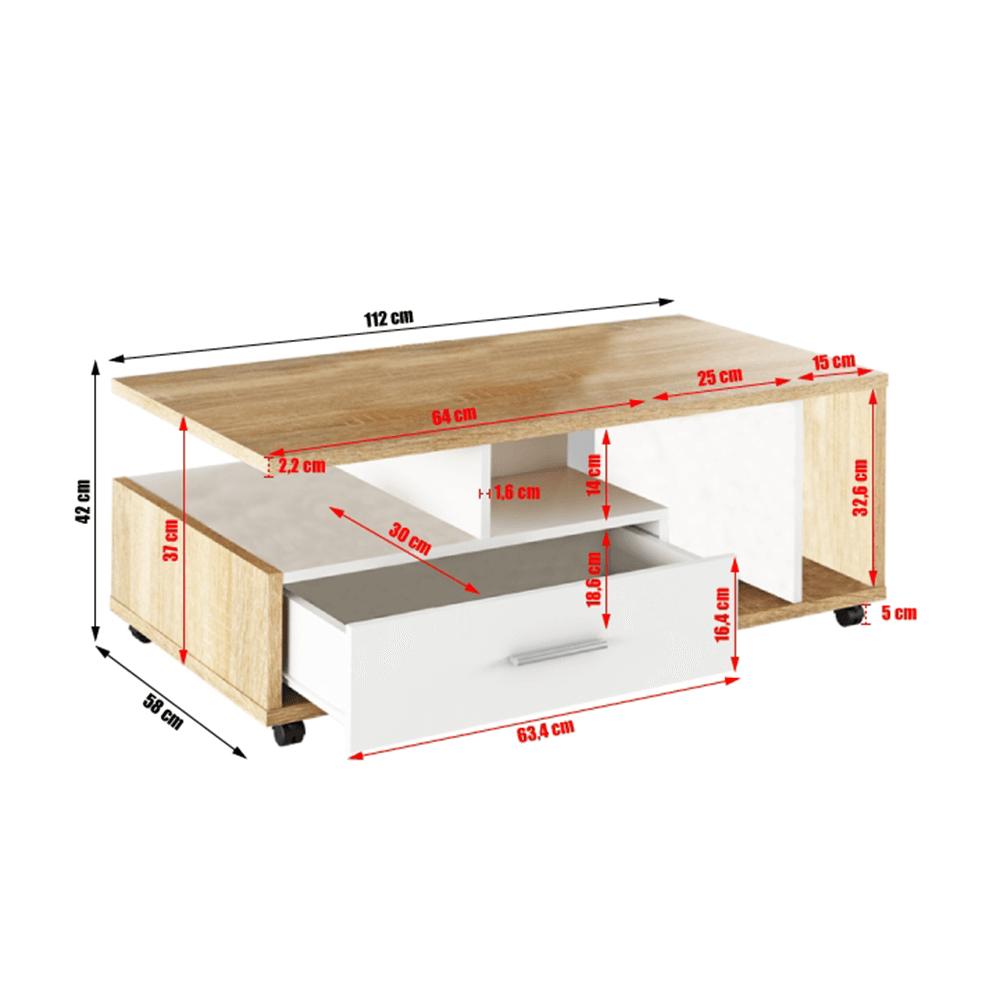 Konferenčný stolík, biela/dub sonoma, DECHEN