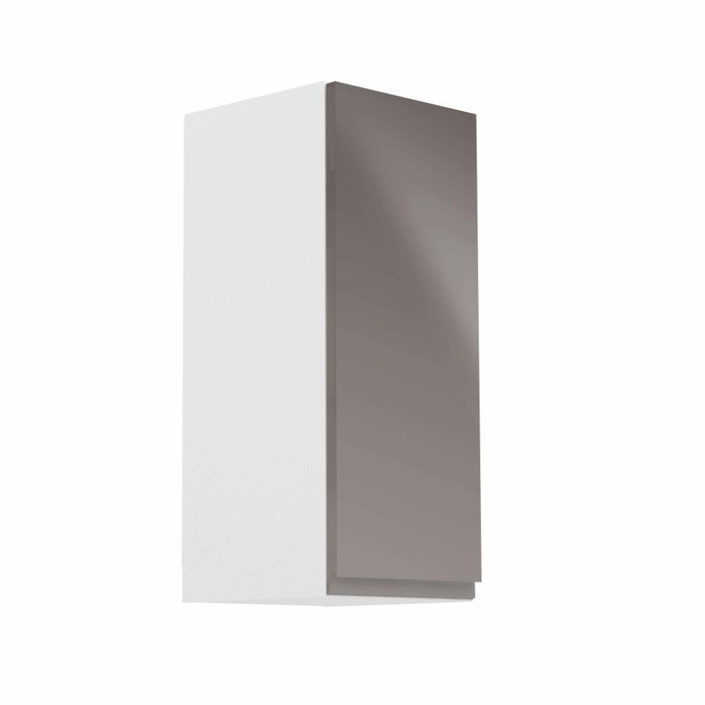 Horná skrinka, biela/sivý extra vysoký lesk, pravá, AURORA G30