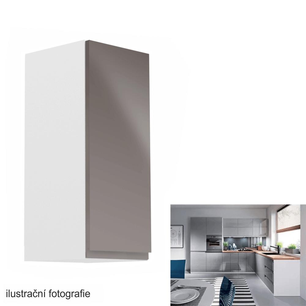Horní skříňka, bílá / šedý extra vysoký lesk, pravá, AURORA G30