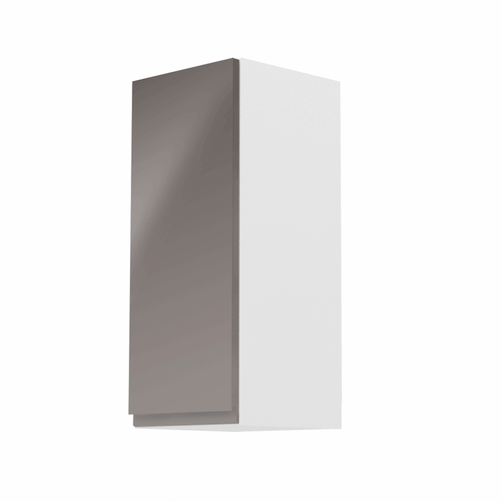 Horná skrinka, biela/sivý extra vysoký lesk, ľavá, AURORA G30