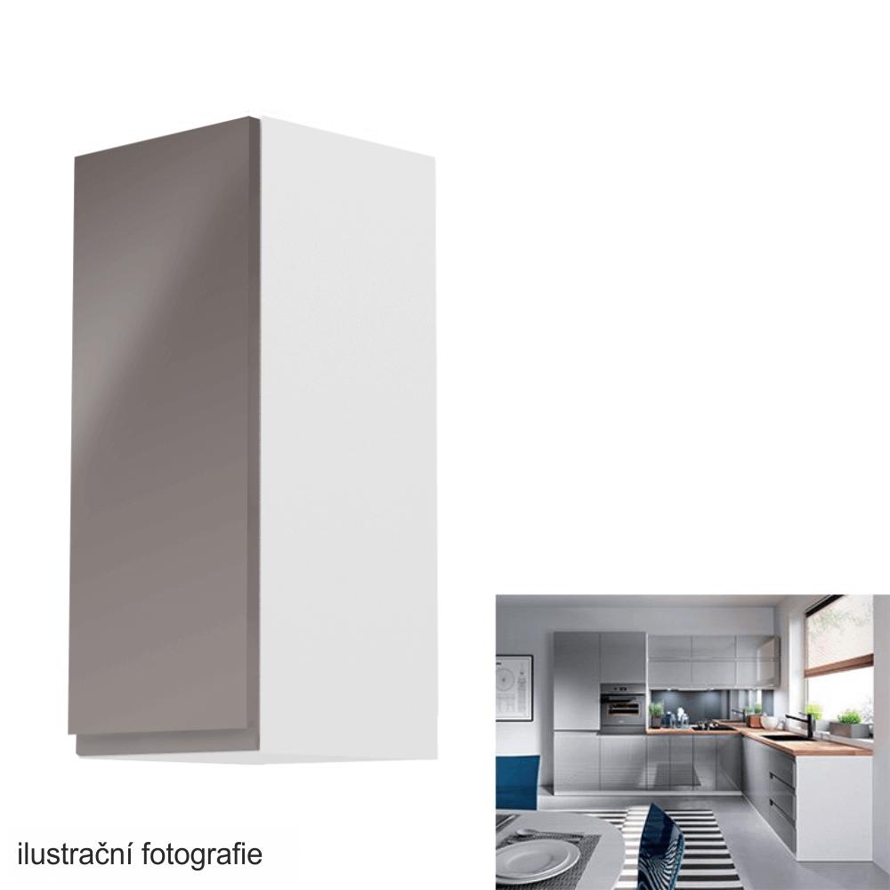 Horní skříňka, bílá / šedý extra vysoký lesk, levá, AURORA G30