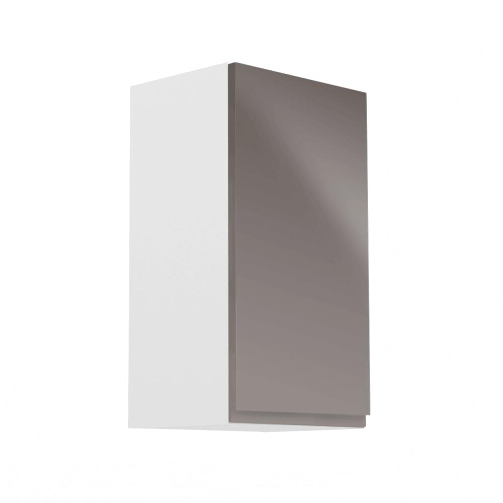 Horná skrinka, biela/sivý extra vysoký lesk, pravá, AURORA G40