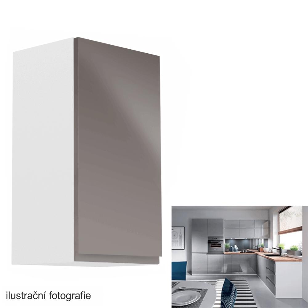 Horní skříňka, bílá / šedý extra vysoký lesk, pravá, AURORA G40
