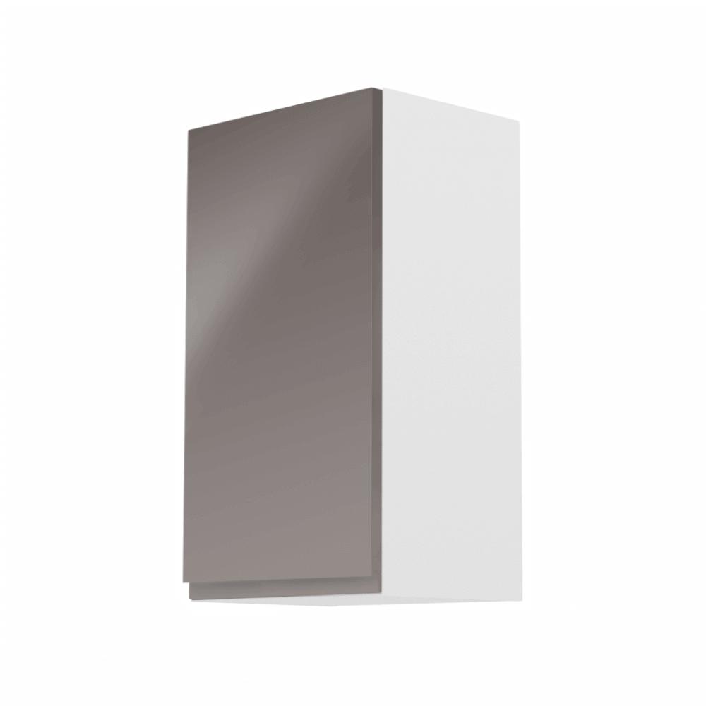 Horná skrinka, biela/sivý extra vysoký lesk, ľavá, AURORA G40