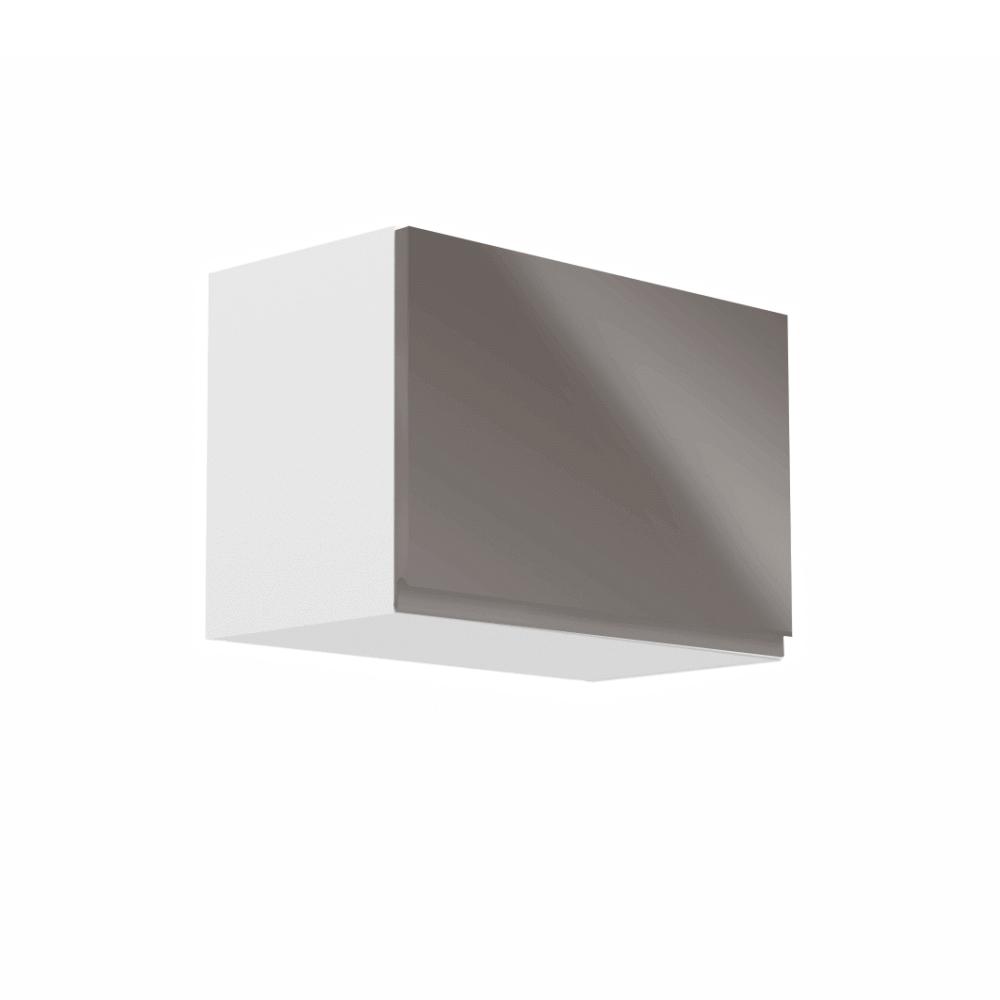 Horná skrinka, biela/sivý extra vysoký lesk, AURORA G50K