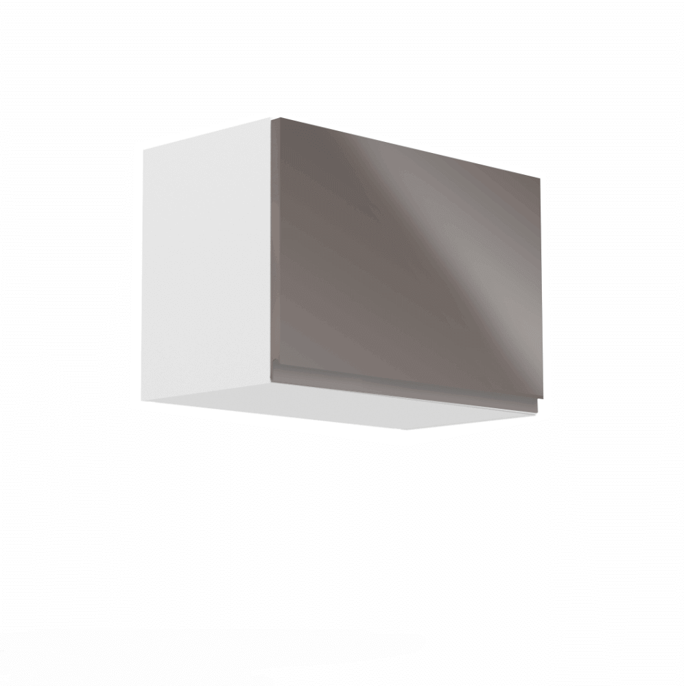 Horná skrinka, biela/sivý extra vysoký lesk, AURORA G60K