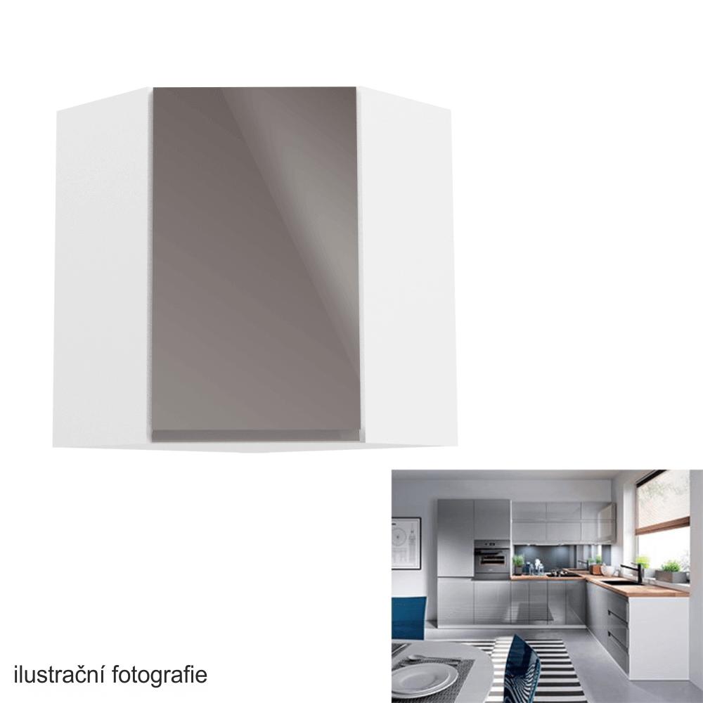 Horní skříňka, bílá / šedý extra vysoký lesk, AURORA G60N