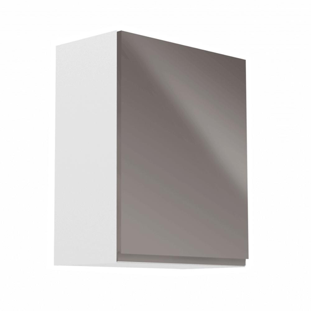 Horná skrinka, biela/sivý extra vysoký lesk, pravá, AURORA G601F