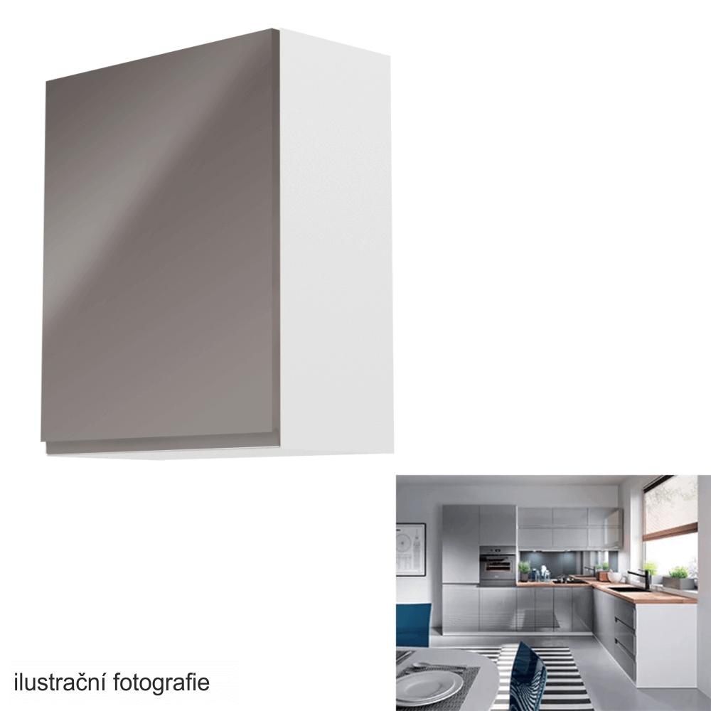 Horní skříňka, bílá / šedý extra vysoký lesk, levá, AURORA G601F