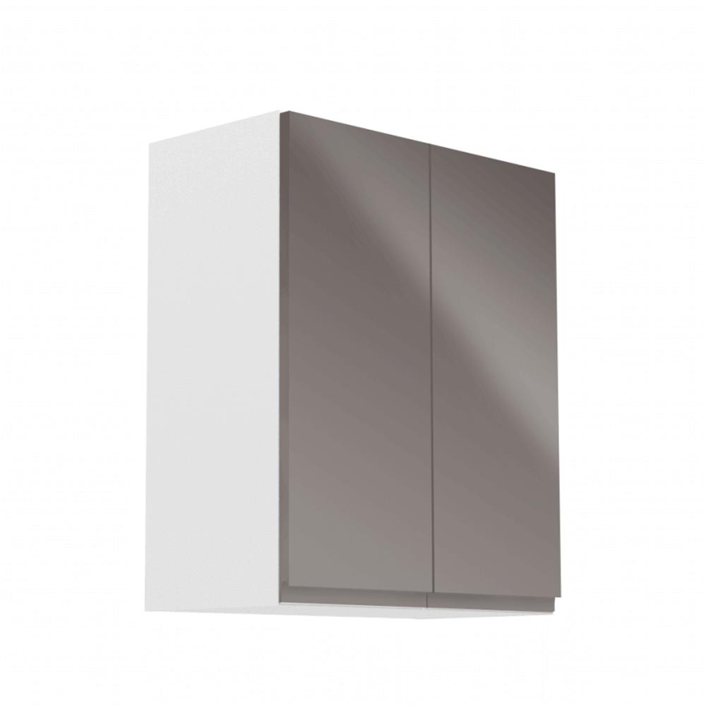 Horná skrinka, biela/sivý extra vysoký lesk, AURORA G602F