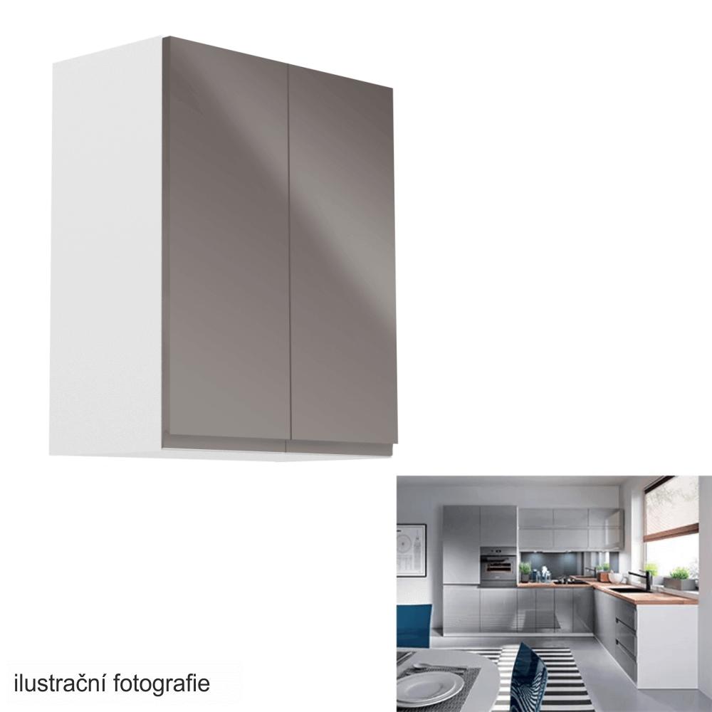 Horní skříňka, bílá / šedý extra vysoký lesk, AURORA G602F