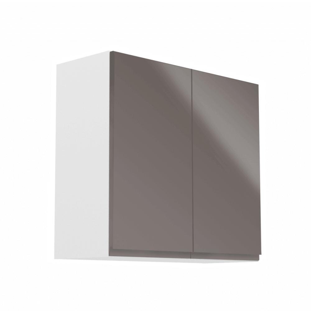 Horná skrinka, biela/sivý extra vysoký lesk, AURORA G80
