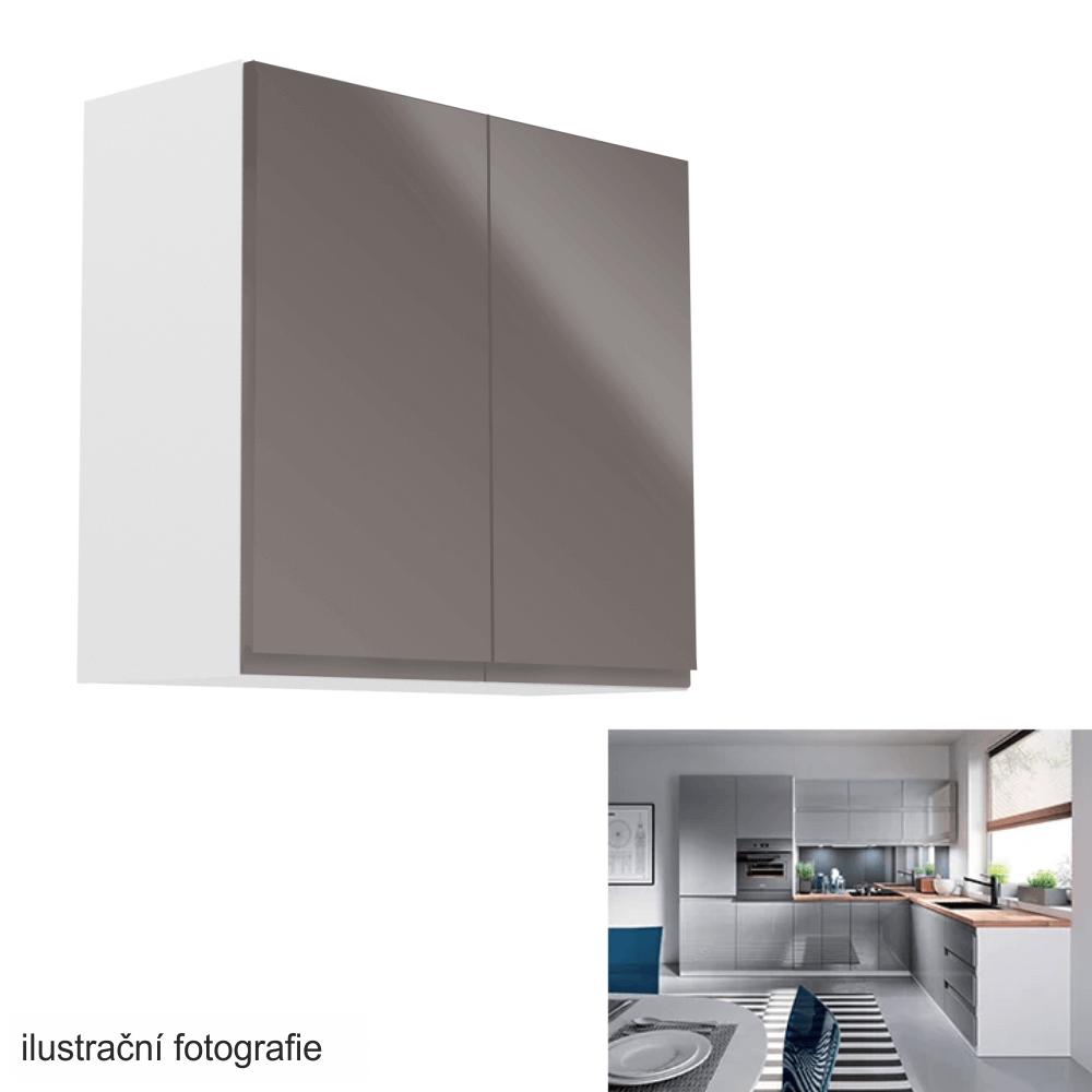 Horní skříňka, bílá / šedý extra vysoký lesk, AURORA G80